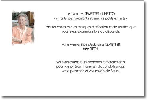Photo Du Défunt Carte De Remerciement Décès Sur Deuil