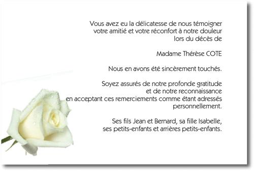 La Rose Blanche Carte De Remerciement Décès Sur Deuil