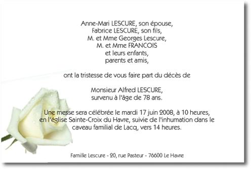 La Rose Blanche Faire Part De Deces Sur Deuil Imprim Com