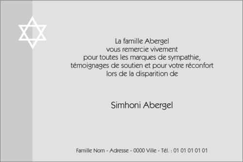 Juif Etoile Blanche Grisée Carte De Remerciements Décès