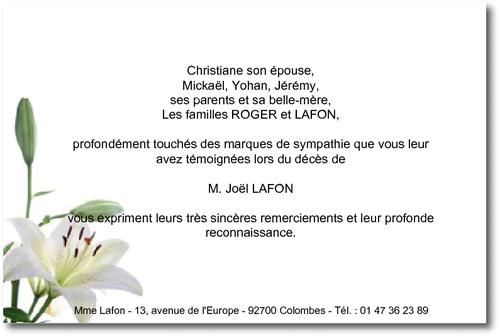 Le Lys Carte De Remerciement Deces Sur Deuil Imprim Com