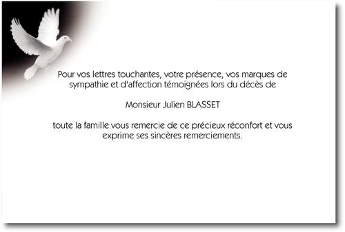 Colombe Carte De Remerciement Deces Sur Deuil Imprim Com