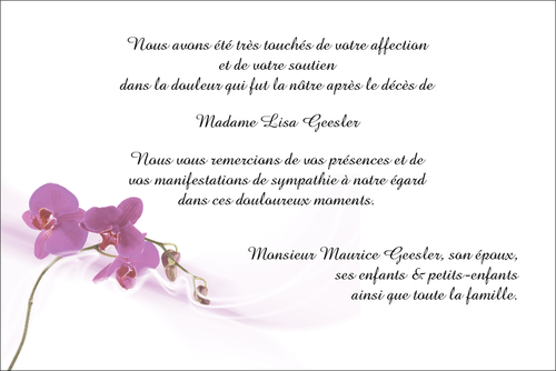 Orchidée Mauve Carte De Remerciements Décès Sur Deuil