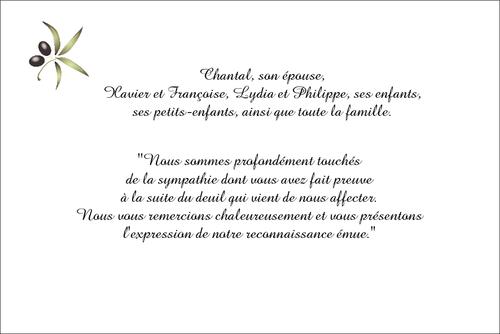 Lolivier Carte De Remerciements Décès Sur Deuil Imprimcom