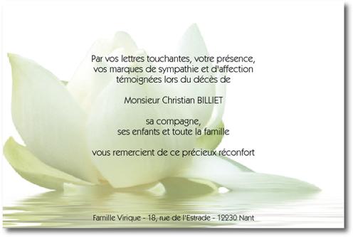 fleur de lotus carte de remerciement d c s sur deuil. Black Bedroom Furniture Sets. Home Design Ideas