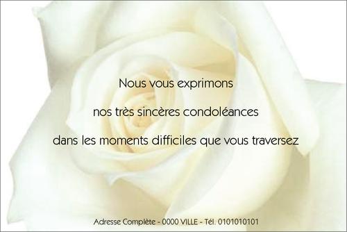 Carte De Condoleances Pour Particulier Et Professionnels Du Funeraire